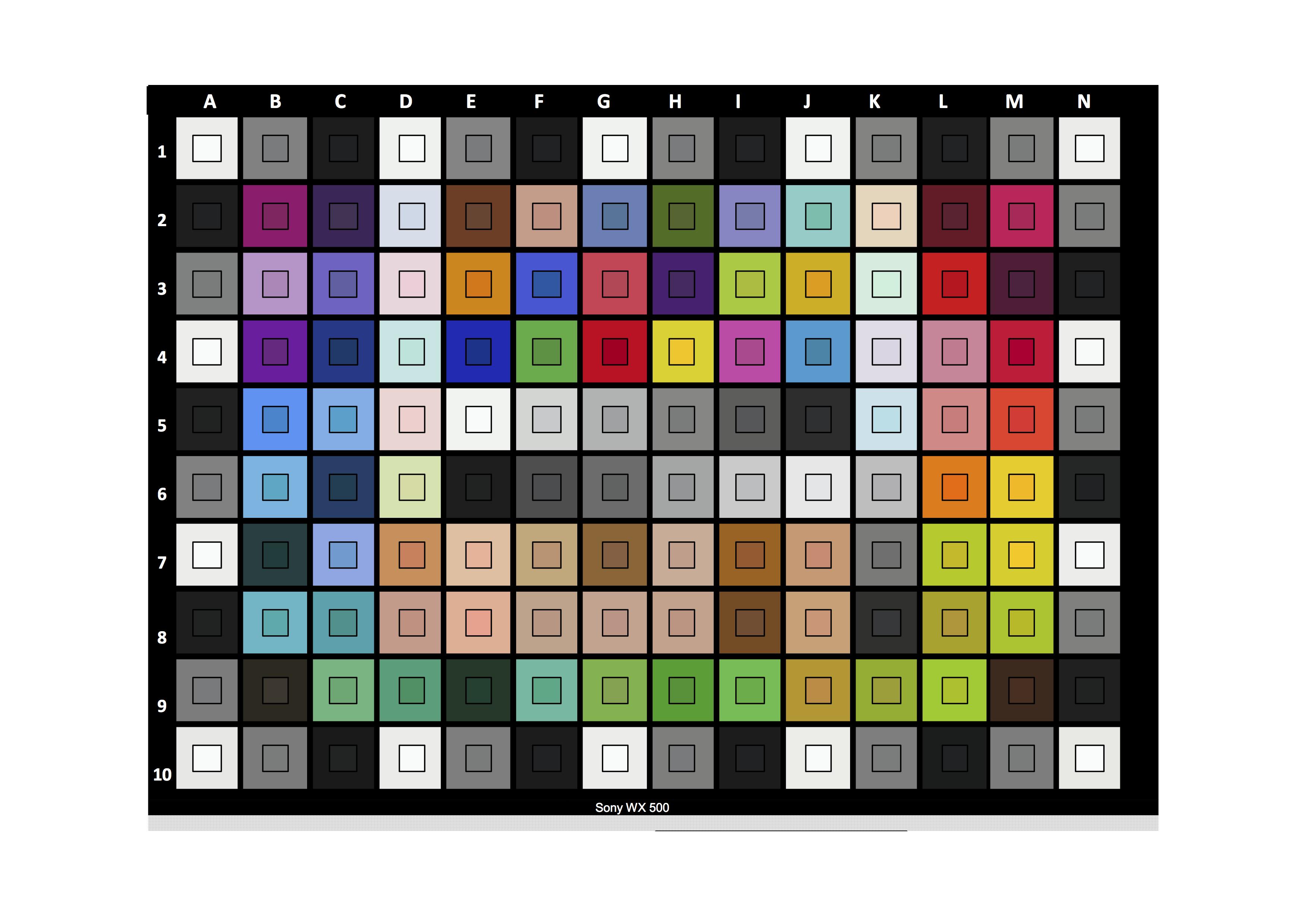 Sony WX500 Color Checker