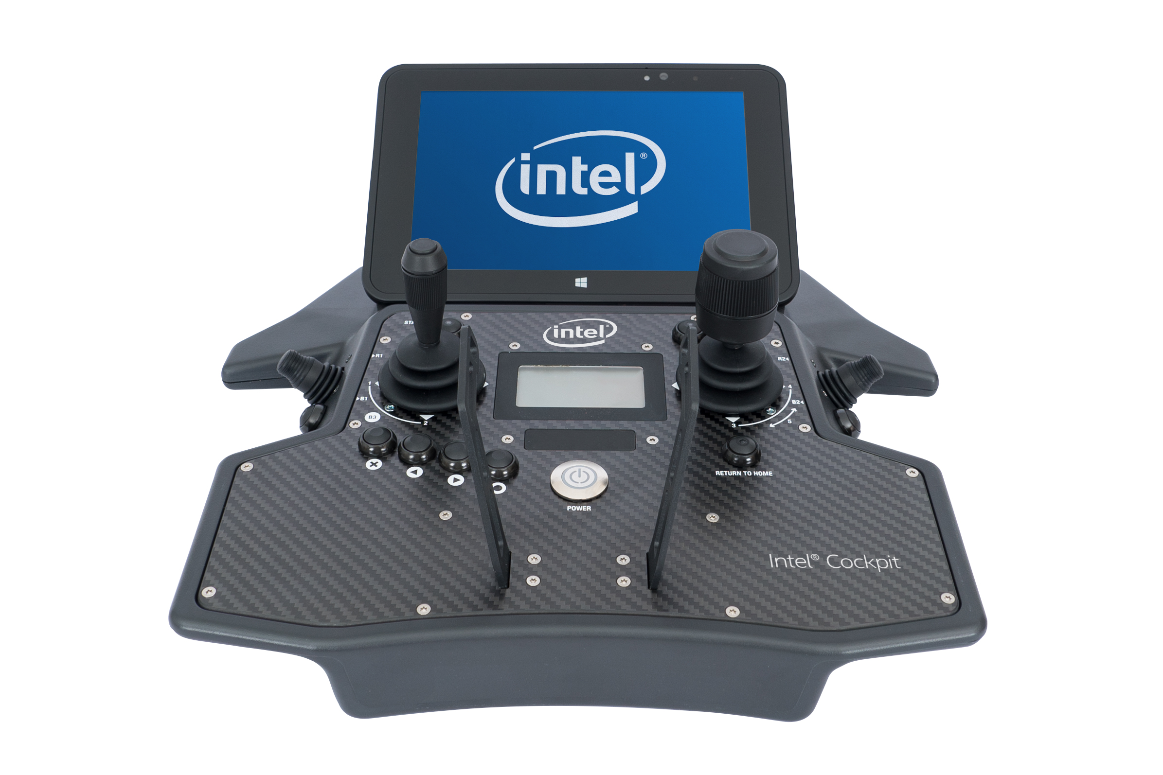 Intel Cockpit, water-resistant user interface, is part of the Intel Falcon 8+ unmanned aerial system. Intel Corporation on Oct. 11, 2016, announced the Intel Falcon 8+, an advanced drone with full electronic system redundancy that is designed with safety, ease, performance and precision for the North American markets. (Credit: Intel Corporation)