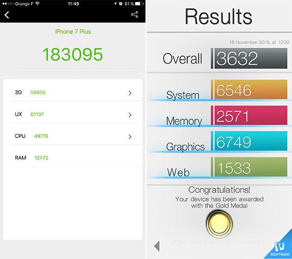 Benchmarks de l'Apple iPhone 7 Plus