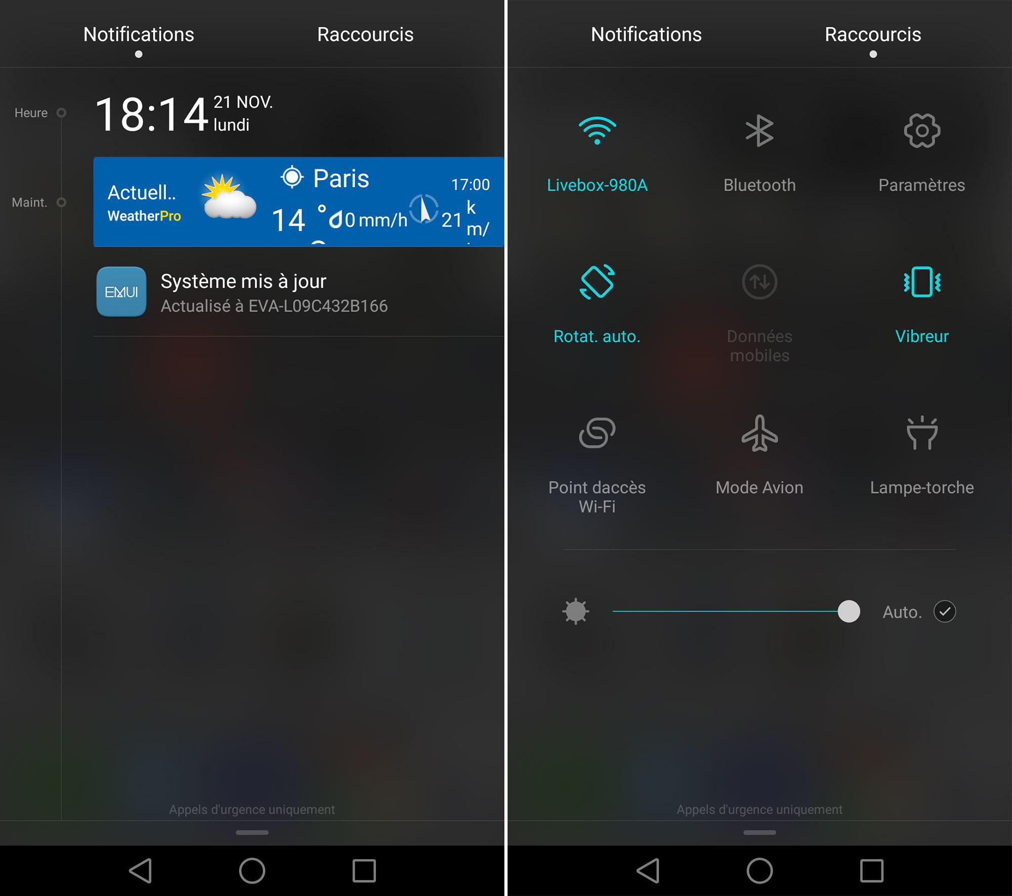 L'interface utilisateur du Huawei P9