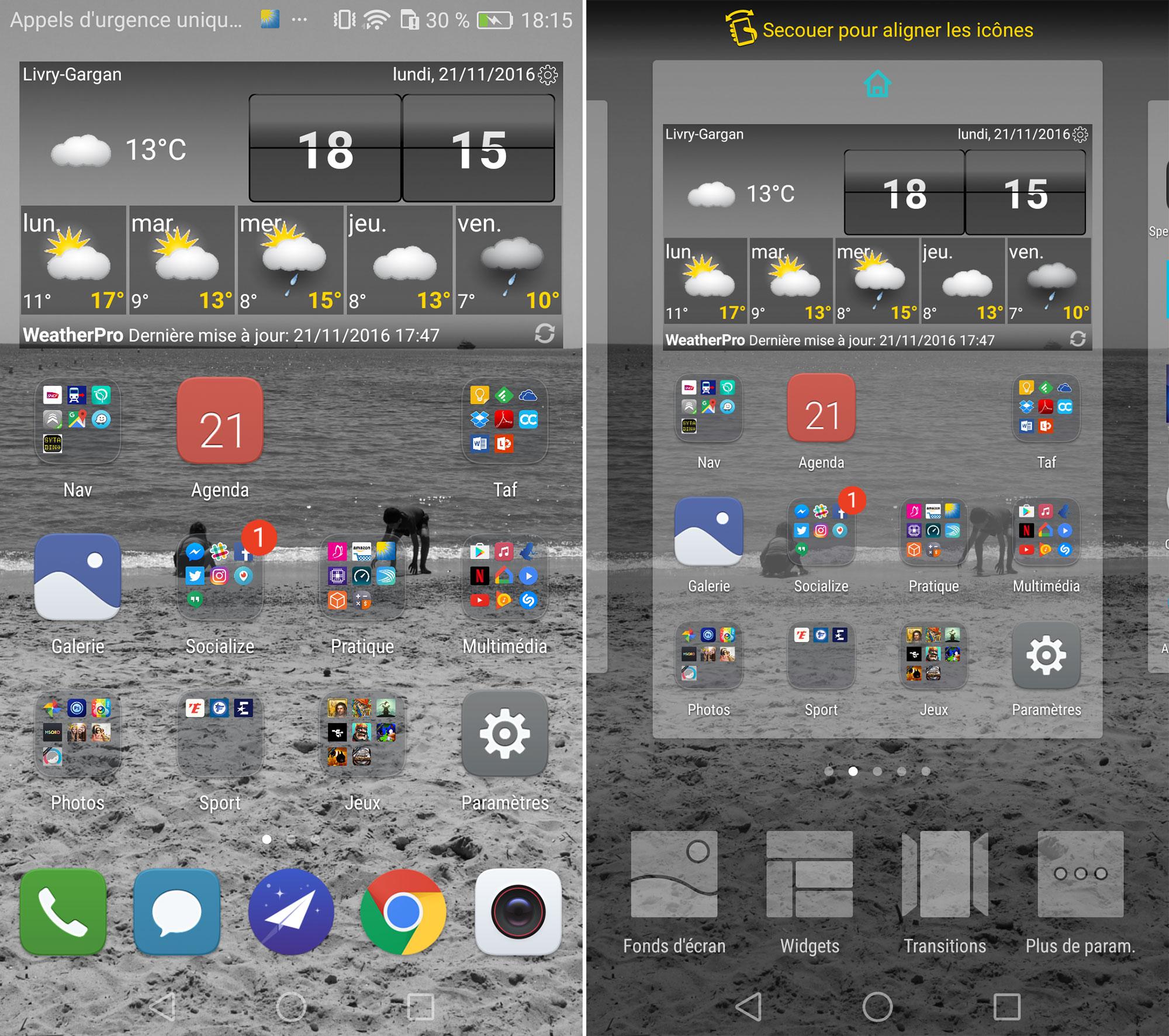 Interface utilisateur Huawei P9