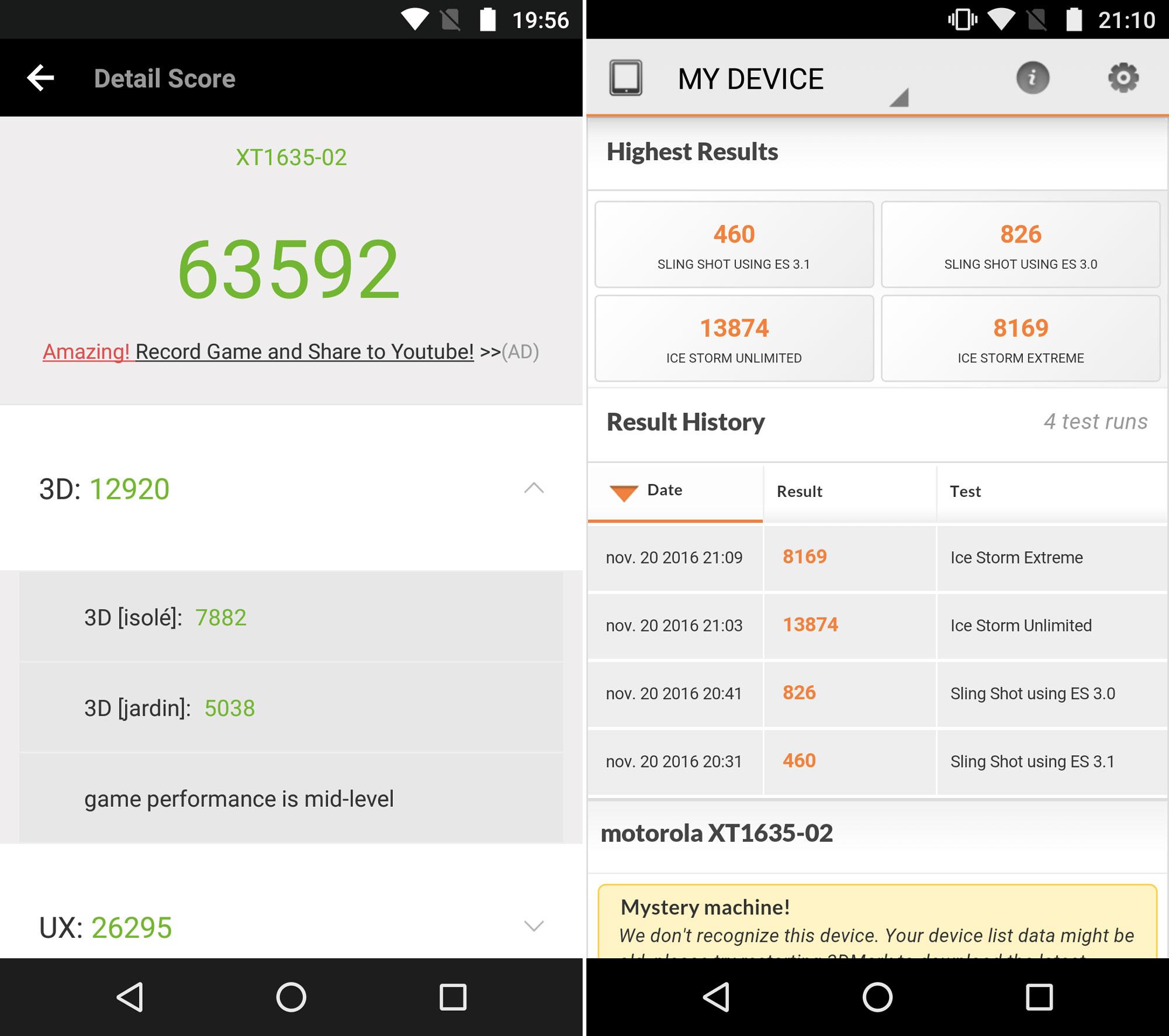 Benchmarks du Lenovo Moto Z Play