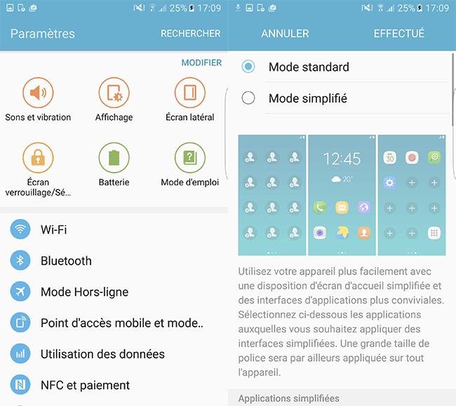 Samsung Galaxy S7 Edge : menu des paramètres