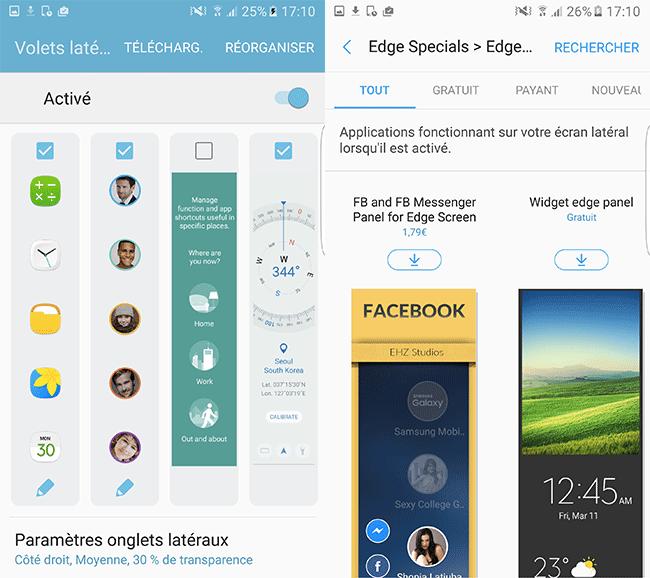 Samsung Galaxy S7 Edge : paramètres edge