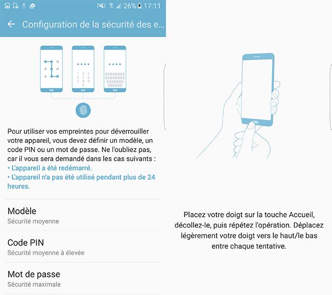 Samsung Galaxy S7 Edge : paramètres lecteur d'empreinte