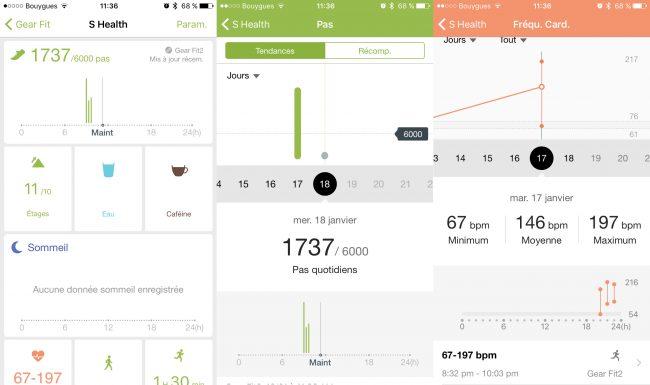 samsung gear fit health app