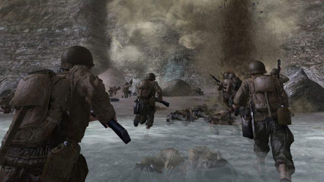 L'épique niveau «Bataille de Normandie» de Call of Duty 2 (2005).