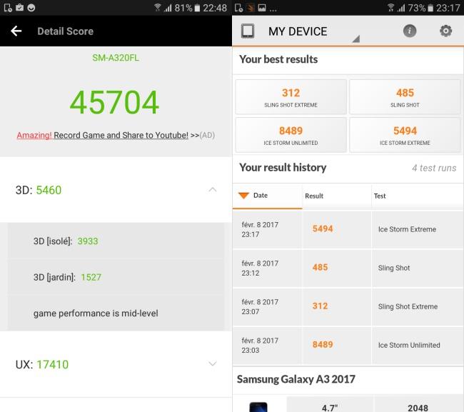 Samsung Galaxy A3 (2017) : AnTuTu & 3DMark
