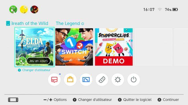 Nintendo Switch : menu principal
