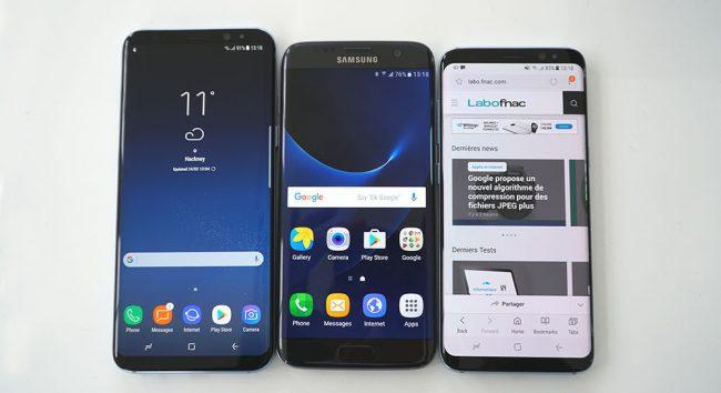 De gauche à droite : les Galaxy S8+, S7 edge et S8.