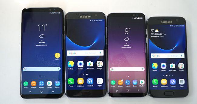 De gauche à droite, les Samsung Galaxy S7, S8, S7 edge et S8+