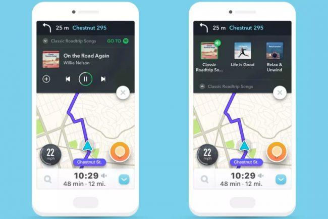 Waze avec commandes Spotify