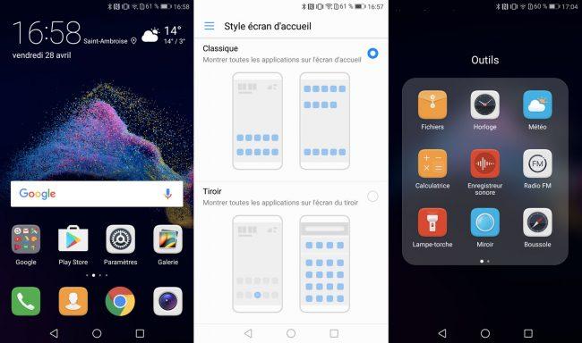 Interface du Huawei P8 Lite