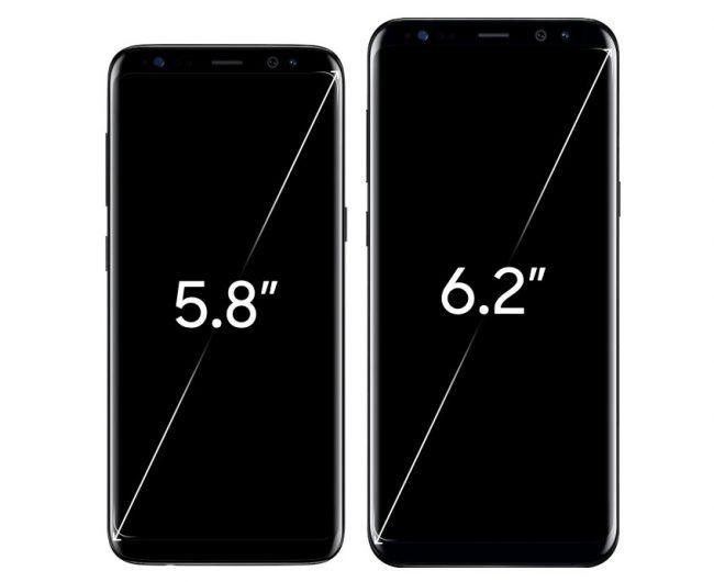 À gauche, le Galaxy S8 et à droite, le Galaxy S8+