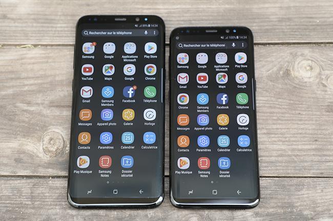Le Samsung Galaxy S8+ à côté de son petit frère, le Galaxy S8