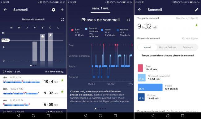 Interface du Fitbit Alta HR