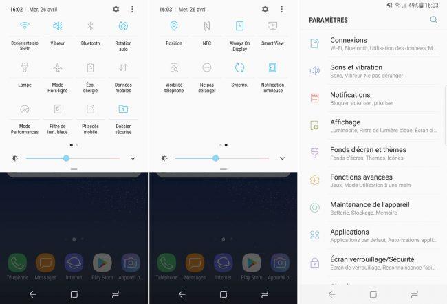 Paramètres du Samsung Galaxy S8