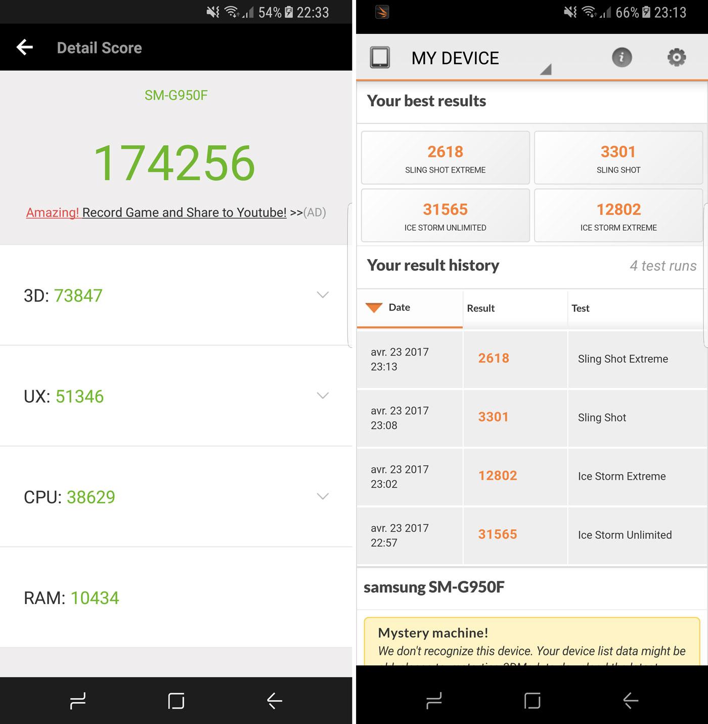 AnTuTu et 3DMark sur le Samsung Galaxy S8