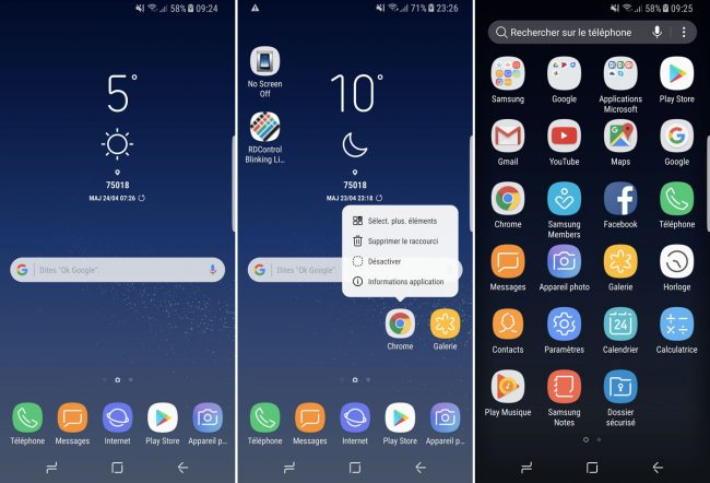 Interface du Samsung Galaxy S8