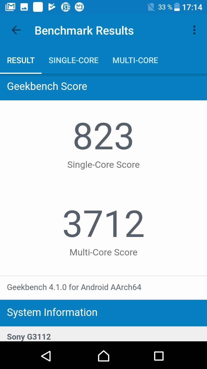 benchmark sony xperia xa1