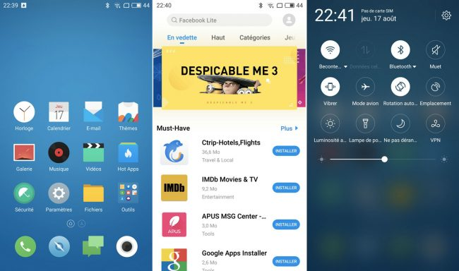 Interface du Meizu M5 note