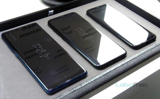 Le Galaxy Note 8 à côté des Galaxy S8+ et Galaxy S8