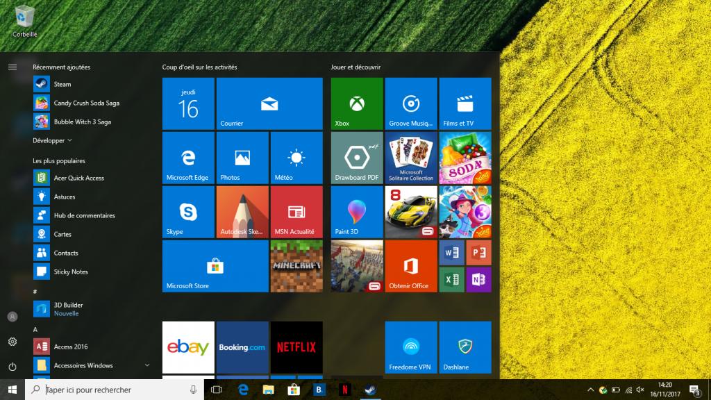 Capture d'écran OS Acer Swift 3