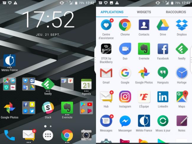 BlackBerry KEYone : interface utilisateur