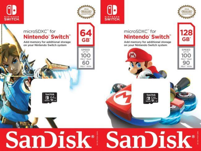 Cartes microSDXC pour Nintendo Switch