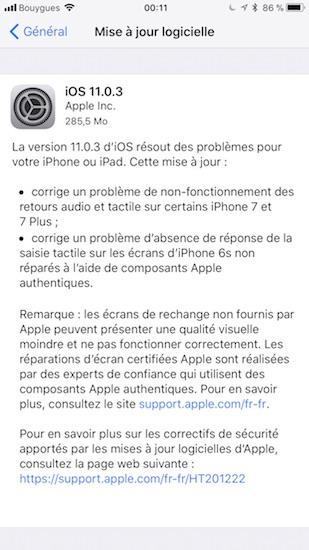 iOS 11 mise à jour