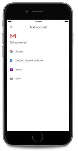 Ajout de comptes tiers dans Gmail pour iOS