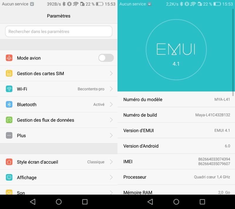 Huawei Y6 (2017) : interface utilisateur