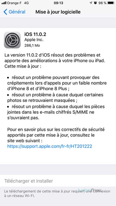 Mise à jour iOS 11.0.2