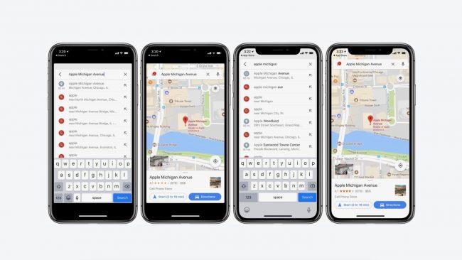 Google Maps optimisé pour l'iPhone X