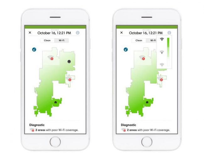 Carte Wi-Fi dans l'application Roomba