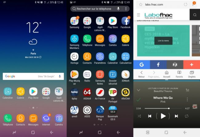 Samsung Galaxy A8 (2018) : interface utilisateur