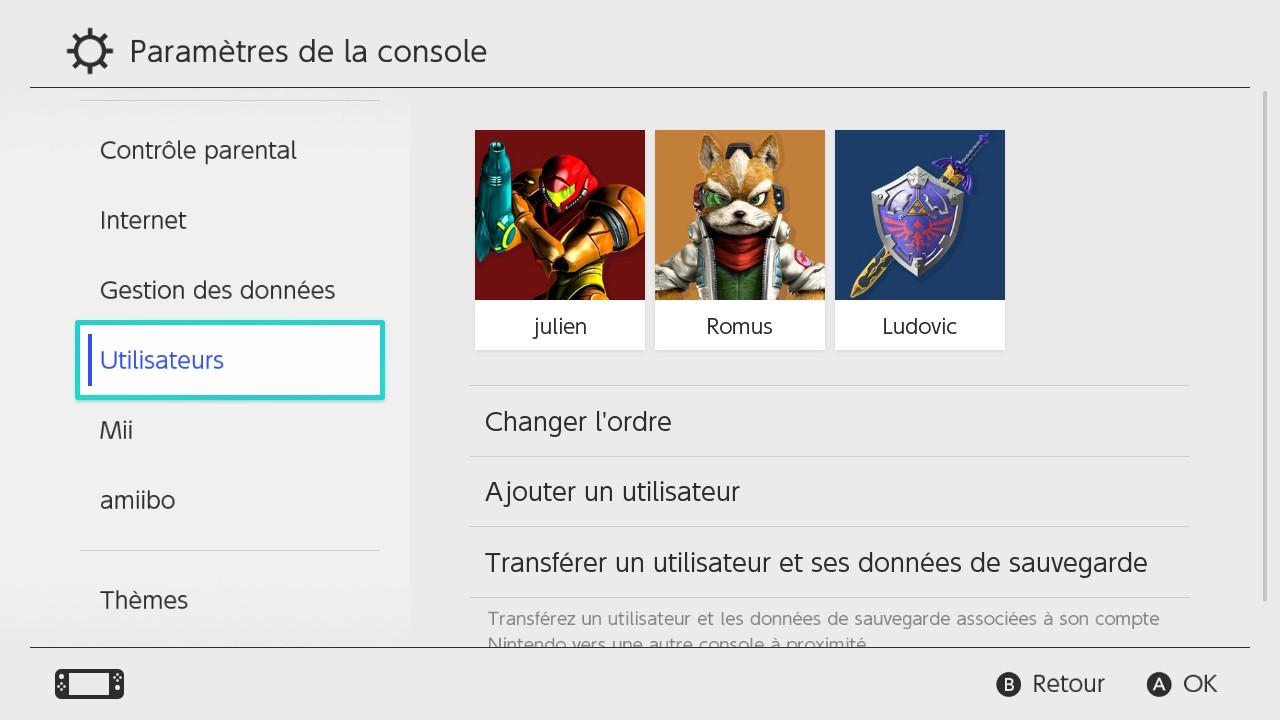 Nintendo Switch transfert de données