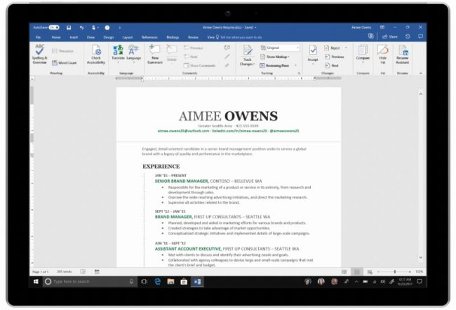 Resume Assistant dans Microsoft Word