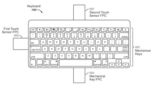 Schéma du clavier hybride imaginé par Apple