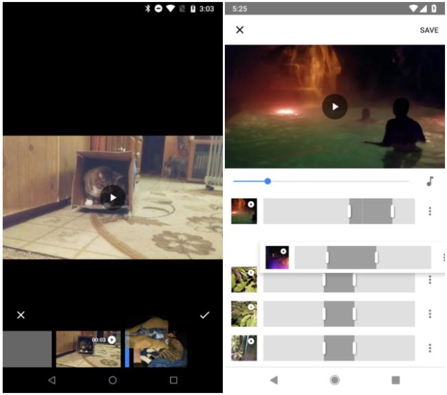 Anciens (à gauche) et nouveaux (à droite) outils de montage vidéo dans Google Photos © Android Police