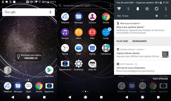 Sony Xperia XA2 : interface utilisateur