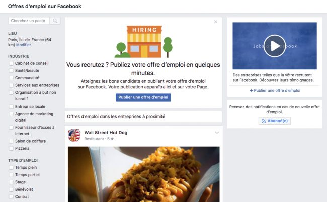 Facebook Offres d'emploi