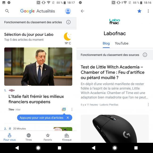 Le Labo Fnac à retrouver sur Google Actualités © Labo Fnac