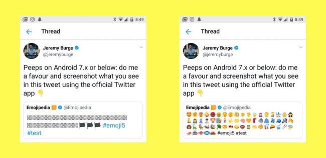 Twemojis dans Twitter pour Android