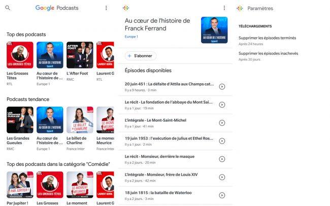 L'application Google Podcasts © Capture d'écran