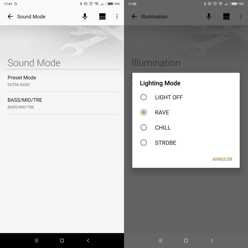 Sony Music Center : réglages et options pour Sony SRS-XB21