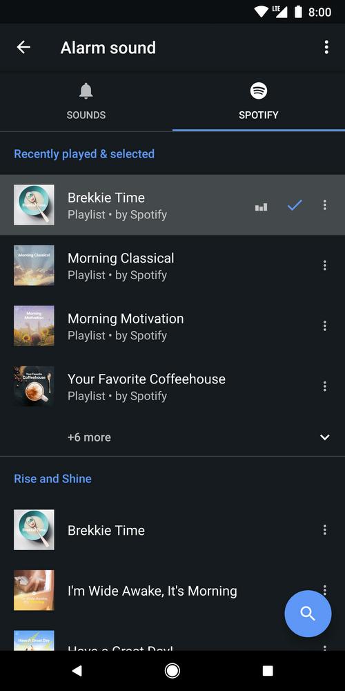 Spotify dans l'Horloge Google