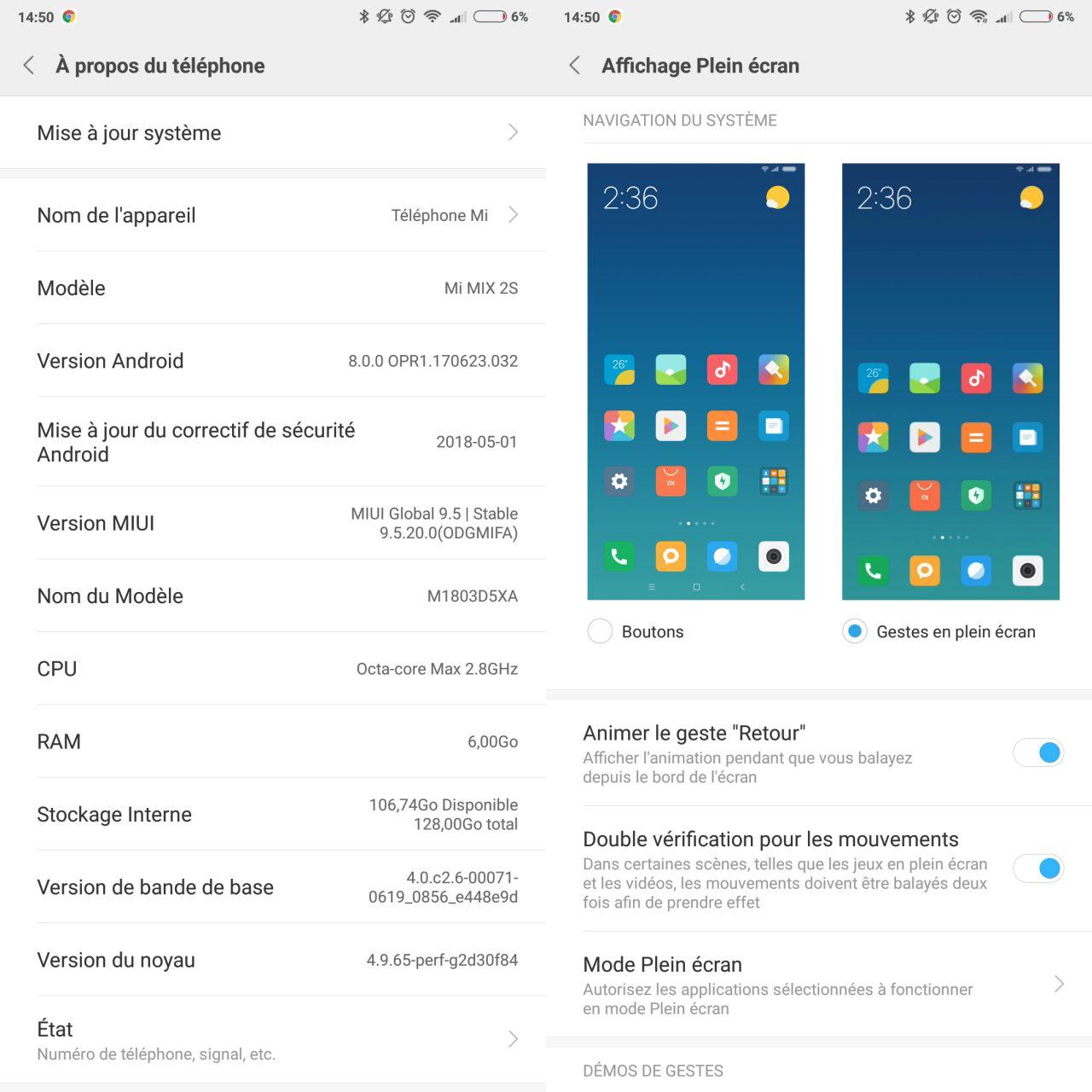 Android Oreo et MIUI 9.5 sur le Xiaomi Mi Mix 2S