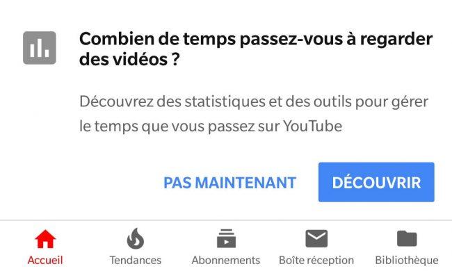 YouTube durée visionnage