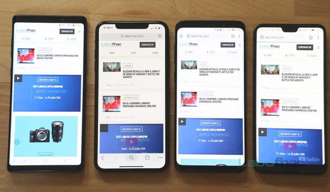 De gauche à droite : Samsung Galaxy Note 9, iPhone Xs Max, Samsung Galaxy S9+, Huawei P20 Pro / © Fahim Alloul / LaboFnac